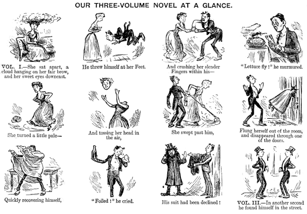 """Our Three-Volume Novel at a Glance"", from the Punch Almanack of 1885"