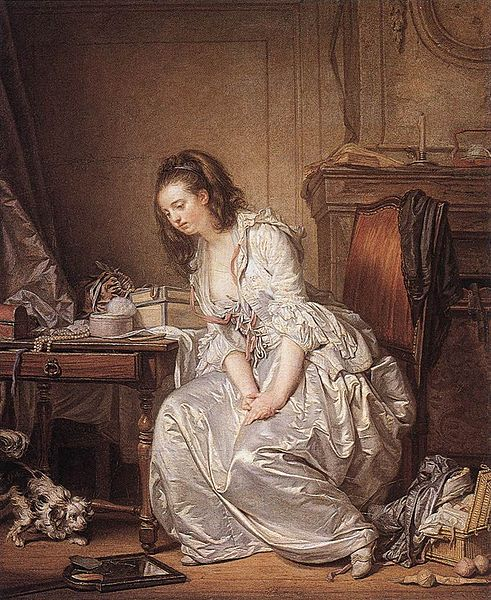 No wonder she looks so glum... The Broken Mirror by Jean-Baptiste Greuze, c/o Wikimedia Commons